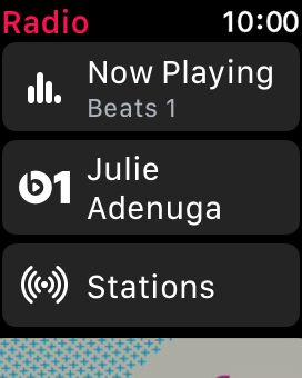 Press the Beats 1 icon to listen to the radio station Beats 1.