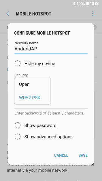 Press WPA2 PSK to password protect your Wi-Fi hotspot.