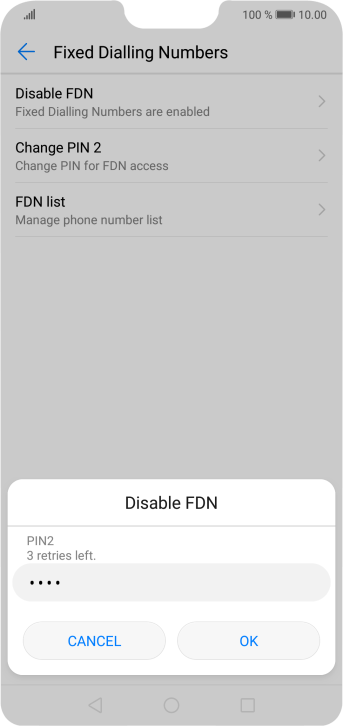 Key in your PIN2 and press OK. The default PIN2 is 0000.