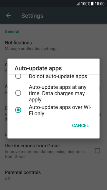 To turn on automatic update of apps using Wi-Fi, press Auto-update apps over Wi-Fi only.
