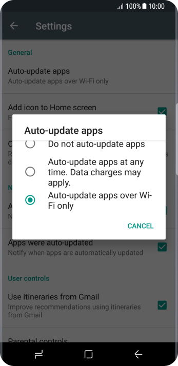 Press Auto-update apps over Wi-Fi only to turn on the function.