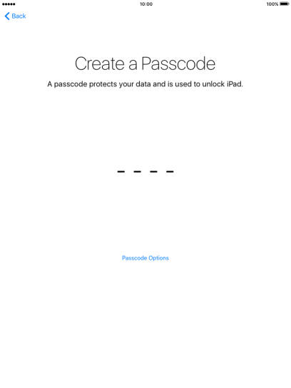 Follow the instructions on the screen to turn on use of Touch ID or press Passcode Options.