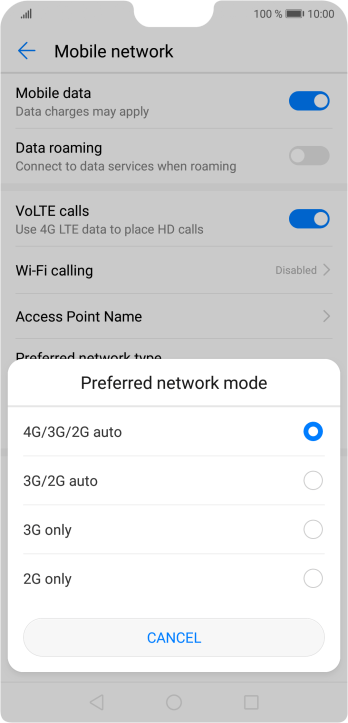 Press the required network mode.