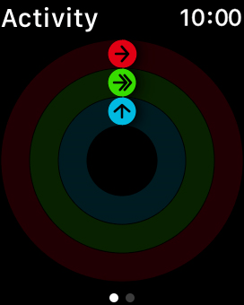 The screen will tell you how far you are from completing your daily activity goals. When the coloured rings are closed, you've reached the goals of your daily activity.