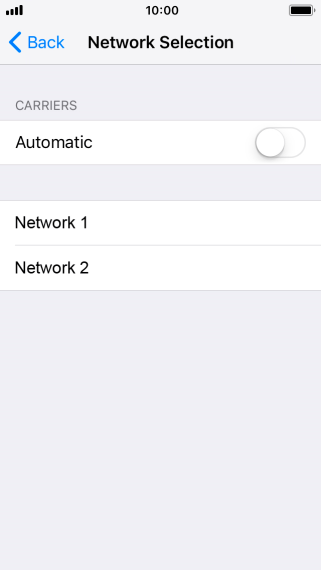 Press the indicator to turn automatic network selection on or off.