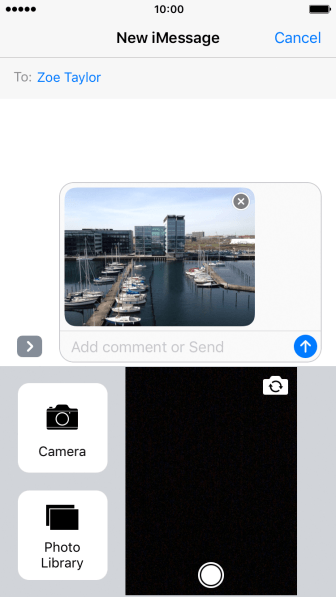 Press the send icon when you've finished your iMessage.