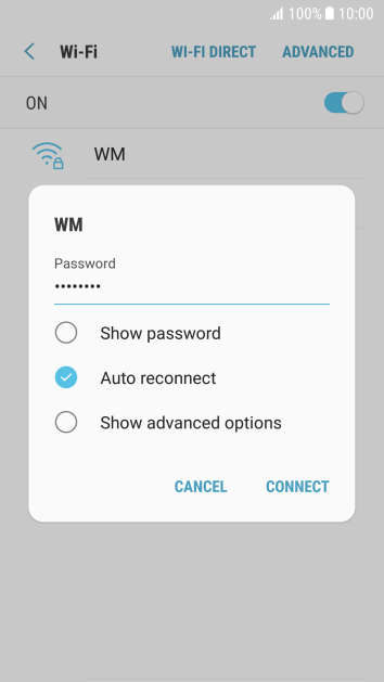 Key in the password for the Wi-Fi network and press CONNECT.