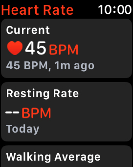 Your current heart rate is displayed below Current.