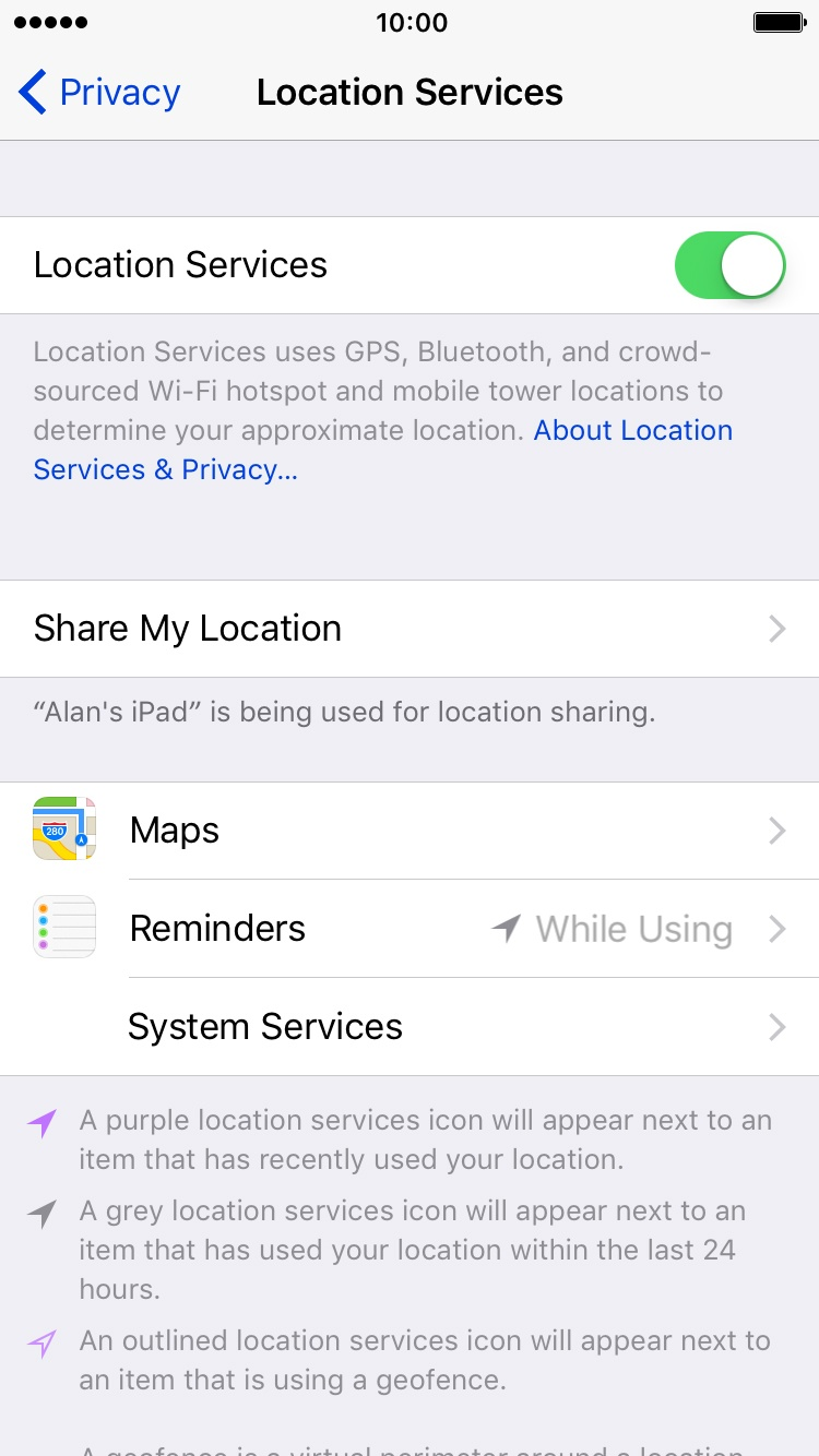 how to turn the location off on iphone 6