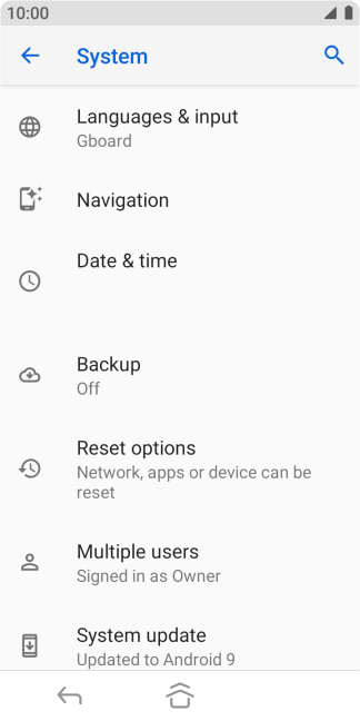 Press Reset options.