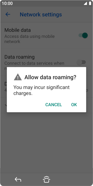 If you turn on data roaming, press OK.