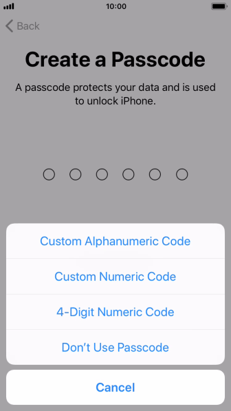 Follow the instructions on the screen to turn on use of phone lock code or press Don't Use Passcode.