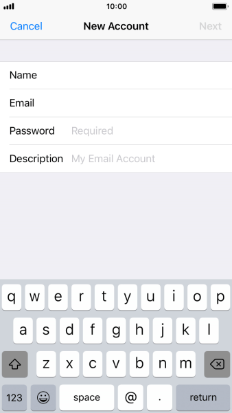 Press Password and key in the password for your email account.