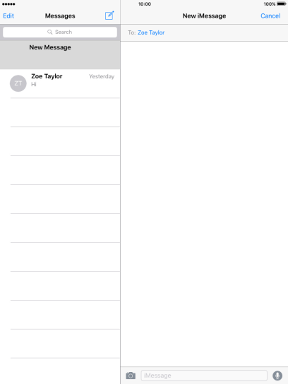 If the recipient can receive iMessages, iMessage is displayed in the text input field.
