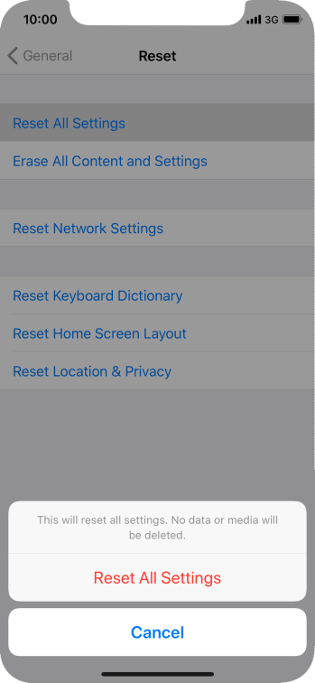 Press Reset All Settings.