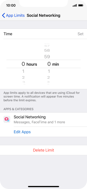 Set the required time limit for use of the selected category.