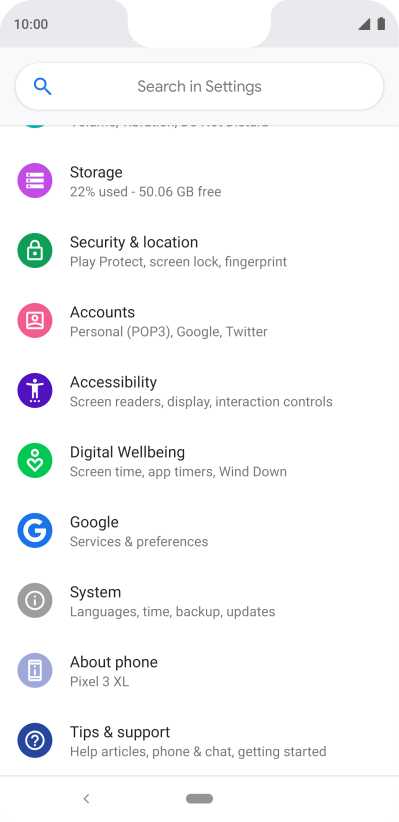 Delete email account on your Google Pixel 3 XL Android 9 0