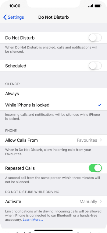 Press While iPhone is locked if you want to set your phone to silent mode only when the screen lock is turned on.