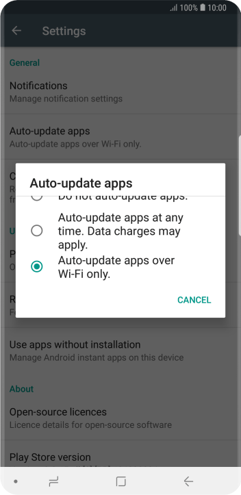 To turn on automatic update of apps using Wi-Fi, press Auto-update apps over Wi-Fi only..