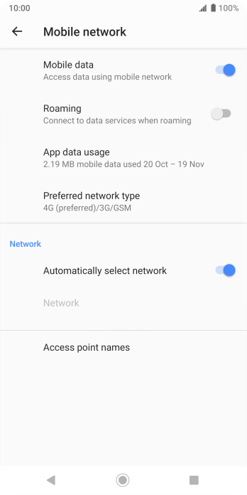 If automatic network selection is turned on, press the indicator next to