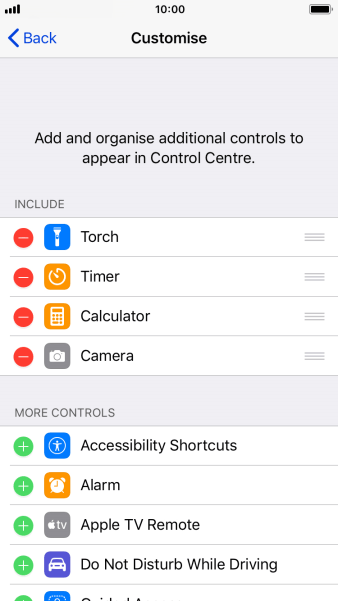 Press the delete icon next to the required function to remove it from Control Centre.