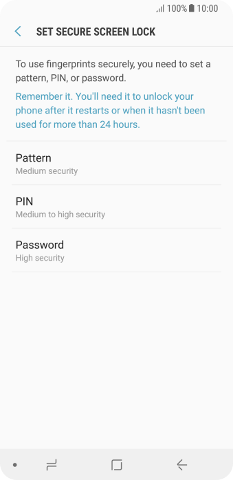 Press the required setting and follow the instructions on the screen to create an additional phone lock code.