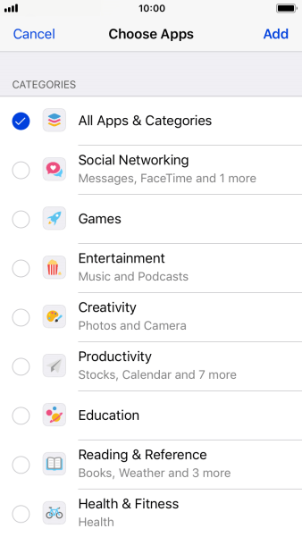 Press the required categories.