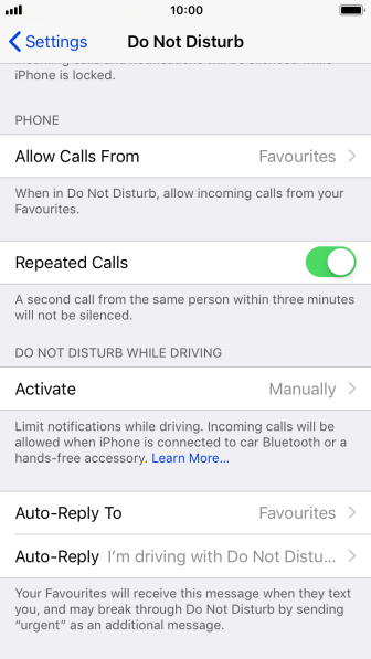 Press Allow Calls From.