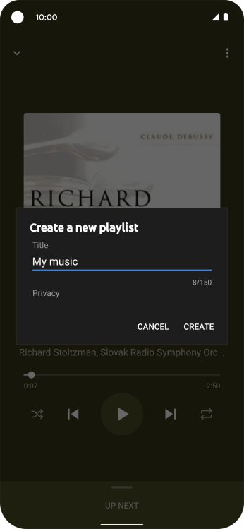 Key in a name for the playlist and press CREATE.