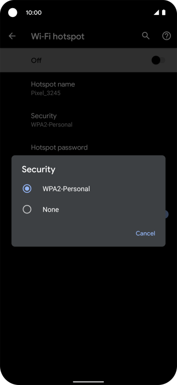 Press WPA2-Personal to password protect your Wi-Fi hotspot.