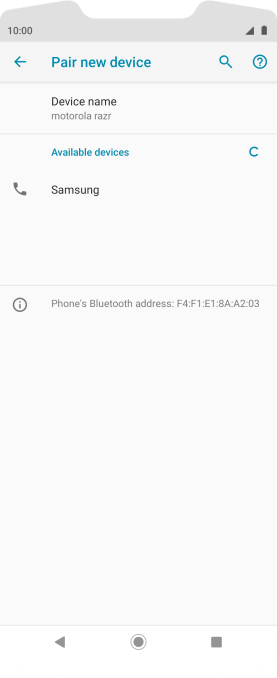 Press the required Bluetooth device and follow the instructions on the screen to pair the device with your phone.