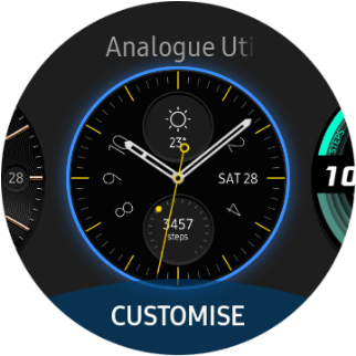 Press the required watch face.