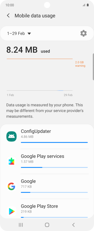 The data usage for each application is displayed below the name of the application.