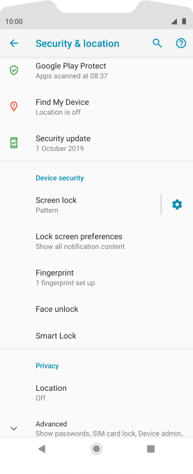 Press Screen lock and key in the current phone lock code.