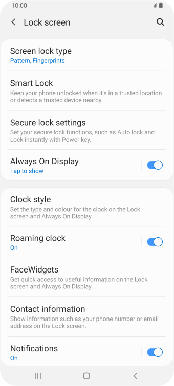 Press Screen lock type and key in the current phone lock code.