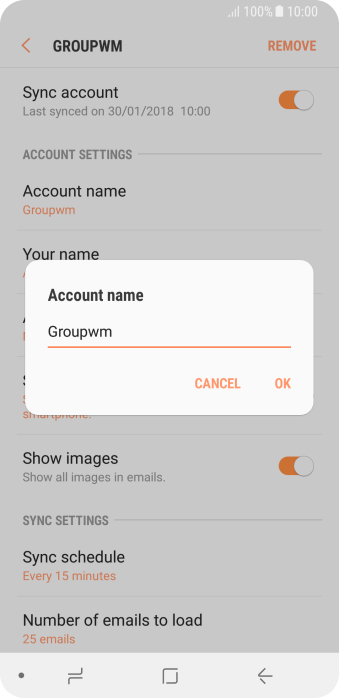 Key in the required name for the email account and press OK.