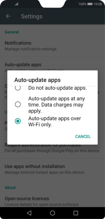 To turn on automatic update of apps using mobile network, press Auto-update apps at any time. Data charges may apply..