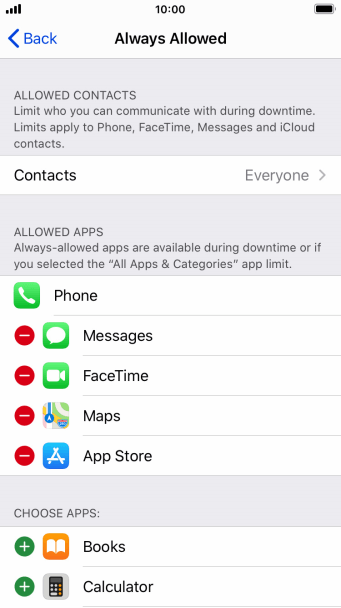 Press the remove icon next to the required app to remove it from the list of allowed apps during Downtime.