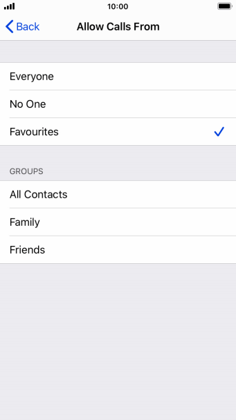 Press the required setting to select which contacts can call you even though Do Not Disturb is turned on.