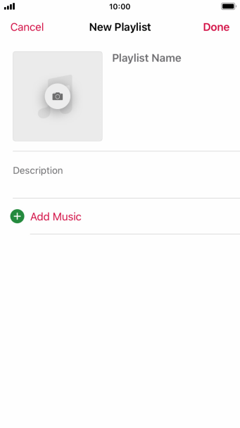 Press the text input field and key in a name for the playlist.