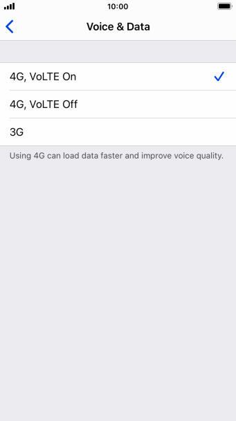 To use 4G for both voice calls and mobile data, press 4G, VoLTE On.