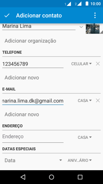 Pressione a lista suspensa do tipo de e-mail.