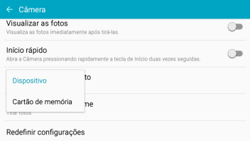 Pressione Dispositivo para salvar as fotos na memória do celular.