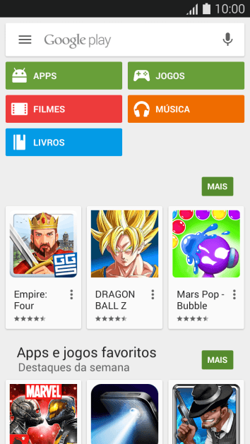 Pressione Google play.