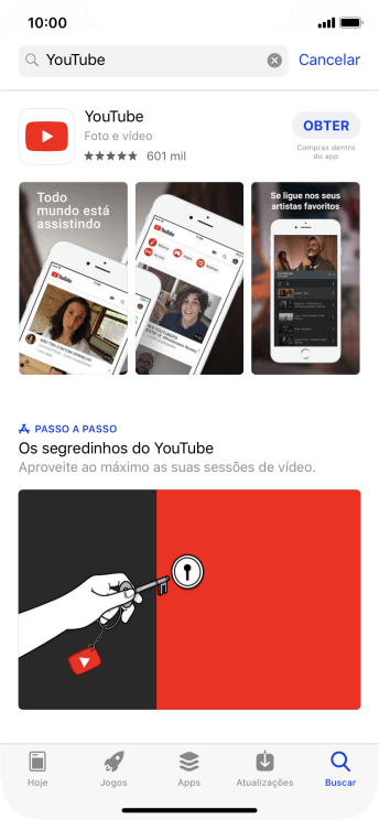 Pressione YouTube.