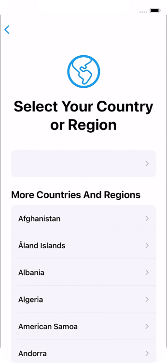 Press the required country or area.