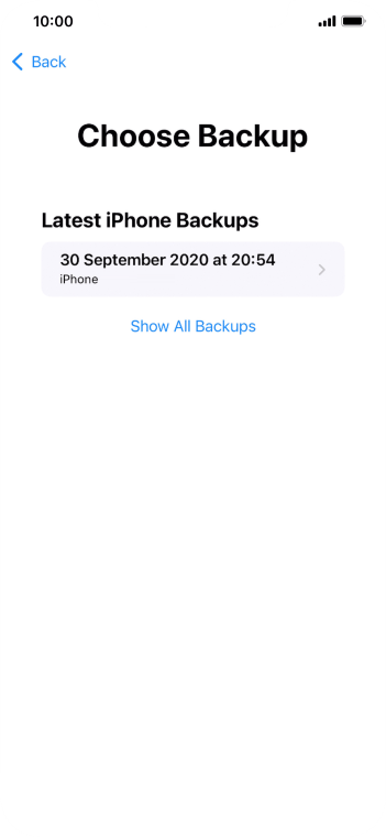 Press the required backup and your phone restores the content of the selected backup. Subsequently, follow the instructions on the screen to set up your phone and prepare it for use.