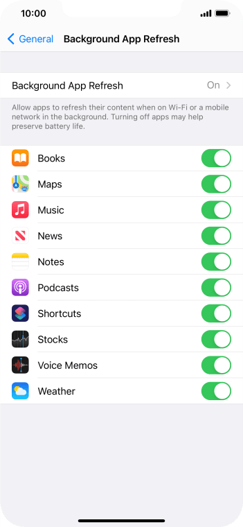 Press the indicators next to the required apps to turn the function on or off.