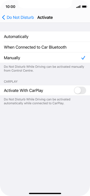 Press the required setting.