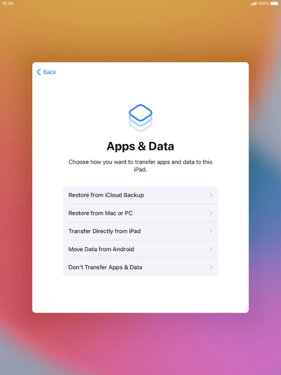 You can restore content from an iCloud backup when your tablet is activated for the first time and after a factory reset. When this screen is displayed, your tablet is ready to restore content from an iCloud backup.